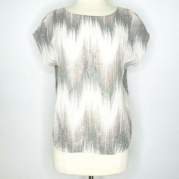 Erin Fetherston Silk Metallic Ikat Blouse Top